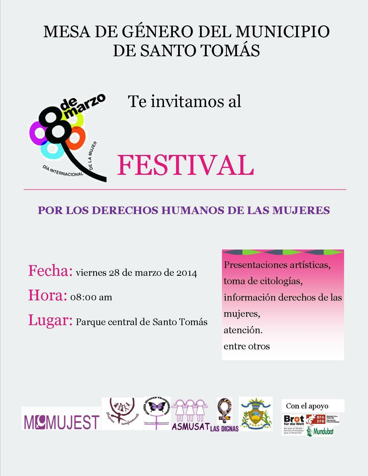 FESTIVAL POR LOS DERECHOS HUMANOS DE LAS MUJERES - PARQUE CENTRAL SANTO TOMÁS - 28 MARZO 2014