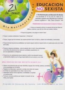21 DE JUNIO - DÍA NACIONAL PARA UNA EDUCACIÓN NO SEXISTA - 2001 - PORTADA