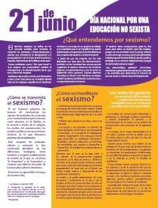 21 DE JUNIO - DÍA NACIONAL POR UNA EDUCACIÓN NO SEXISTA - PORTADA