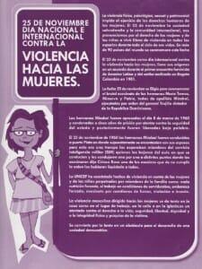 25 DE NOVIEMBRE - DÍA NACIONAL E INTERNACIONAL CONTRA LA VIOLENCIA HACIA LAS MUJERES - PORTADA