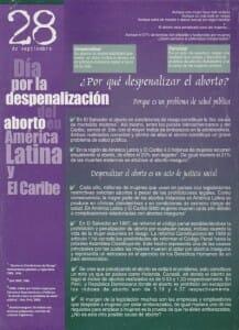 28 DE SEPTIEMBRE - DÍA POR LA DESPENALIZACIÓN DEL ABORTO EN AMÉRICA LATINA Y EL CARIBE - PORTADA