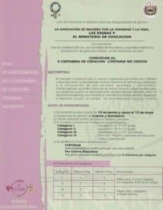 II CERTAMEN DE CREACIÓN LITERARIA NO SEXISTA [BASES - CERTAMEN] - PORTADA