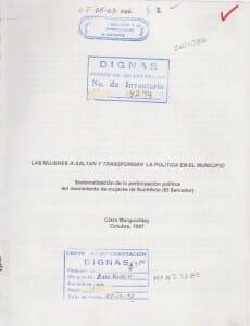 LAS MUJERES A-SALTAN Y TRANSFORMAN LA POLÍTICA EN EL MUNICIPIO - 1997_PORTADA