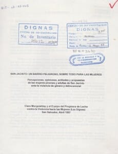 SAN JACINTO UN BARRIO PELIGROSO SOBRE TODO PARA LAS MUJERES - 1997_PORTADA