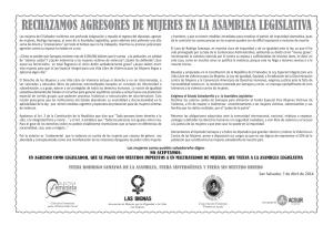 IMA_Rechazamos Agresores de Mujeres en la Asamblea Legislativa 07 04 2014