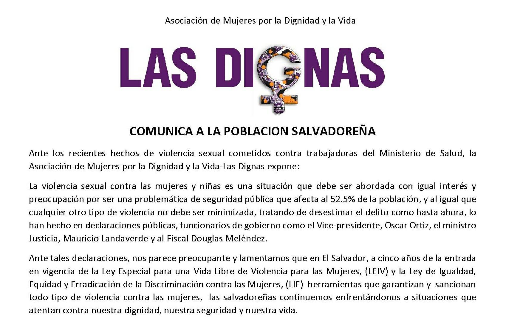 COMUNICADO CASO DE VIOLENCIA SEXUAL CONTRA PROMOTORAS DE SALUD | 19.05.17