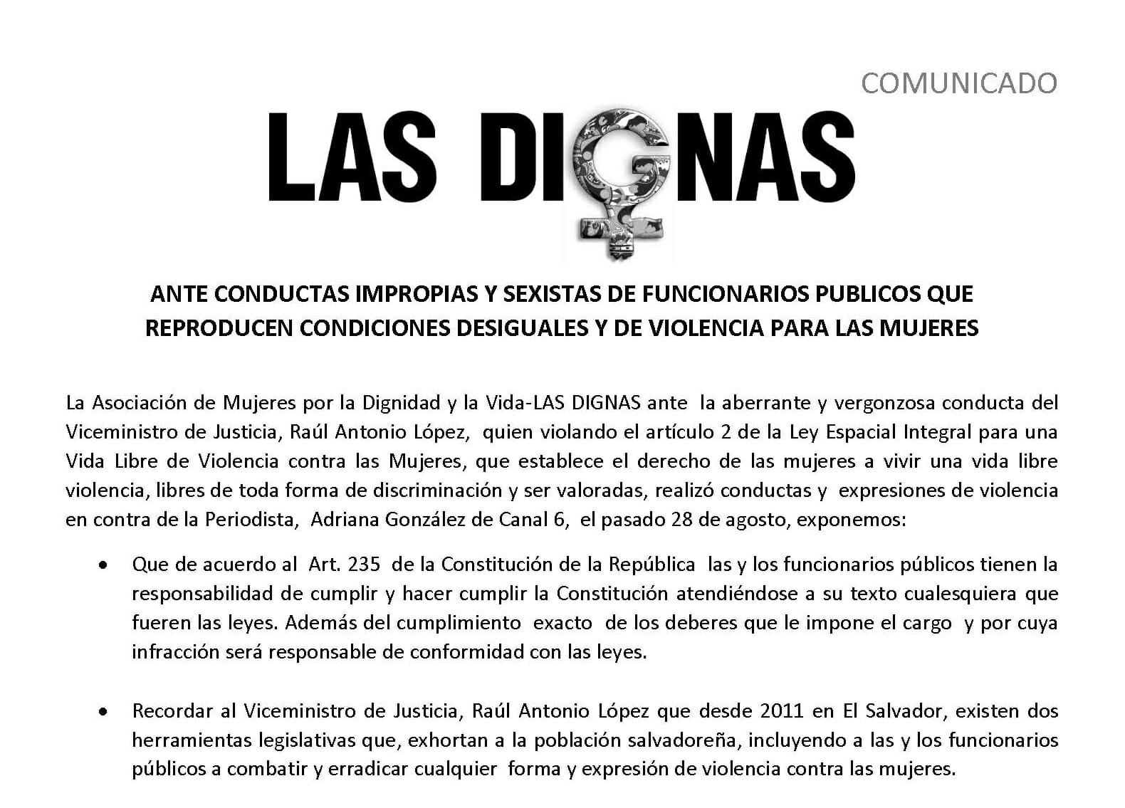 ANTE CONDUCTAS IMPROPIAS Y SEXISTAS DE FUNCIONARIOS PUBLICOS QUE  REPRODUCEN CONDICIONES DESIGUALES Y DE VIOLENCIA PARA LAS MUJERES