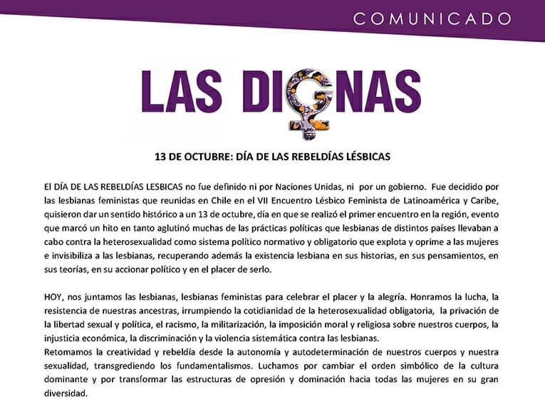 COMUNICADO 13 DE OCTUBRE: DIA DE LAS REBELDIAS LESBICAS